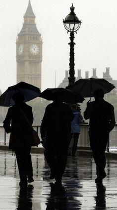London - Big Ben, brollies, and rain - three classics