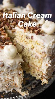 Coconut Cream Cakes, Quick Italian Cream Cake Recipe, Italian Cream Cheese Cake, Cream Cheese Desserts, Italian Cake, Coconut Desserts, Coconut Recipes, Just Desserts, Cake