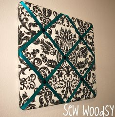 Fabric bulletin board for sewing area..