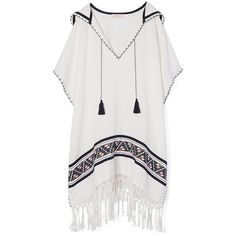 Tory Burch Woven Cotton Beach Poncho ($129) ❤ liked on Polyvore featuring dresses, tops, beach, jackets, hooded poncho, beach ponchos, style poncho, cotton poncho and fringe ponchos