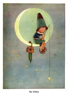 """""""Star Fishing"""" Mabel Lucie Attwell, British Lots of vintage childrens books pictures here! Vintage Children's Books, Vintage Art, Cartoon Star Wars, Children's Book Illustration, Book Illustrations, Moon Art, Stars And Moon, Sun Moon, Childrens Books"""
