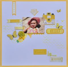 """Happiness is.... - My Creative Scrapbook Limited Edition Kit using Crate Paper """"Oh Darling"""" col stickers,Prima flower and Studio Calico's wood veneer butter flies (colored with ink pads)"""