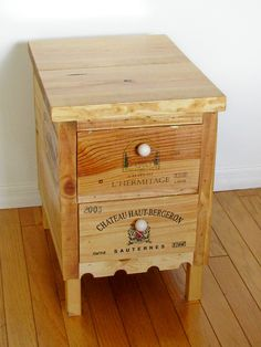 wine crate side table with drawers by Palm Harbor Creations.