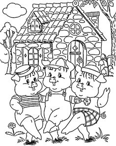 Сказочные раскраски Coloring Sheets For Kids, Colouring Pages, Sequencing Pictures, Animal Dress Up, Vintage Coloring Books, Painting Templates, Art Drawings For Kids, Rainy Day Activities, Three Little Pigs