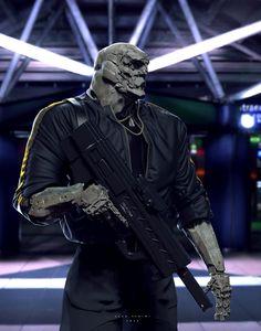 Gangsta Mech - City Streets by Alex Figini Alien Concept, Concept Art, Character Concept, Character Design, Sci Fi Models, Sci Fi Armor, Kairo, Real Model, Suit Of Armor