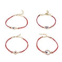 2017 New Sideway Cross Karma Hamsa Evil Eye 4 Models Blue Eye Lucky Red String Gifts Bracelets for women new year gift