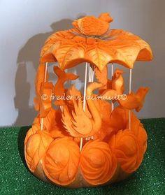 sculpture sur fruits -