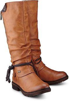 684b6aa6ff1049 Der trendige Stiefel der Marke Rieker aus braunem Kunstleder hält Ihre Füße  diesen Winter wunderbar warm