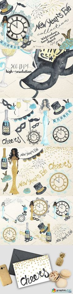 New Years Eve Watercolor Collection  stock images