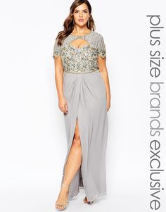 Image 1 of Virgos Lounge Plus Helena Embellished Sweetheart Top Maxi Dress With Thigh Split