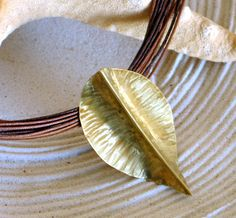 Fold formed Leaf brass Necklace