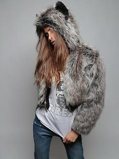 SpiritHoods® Official Website | Grey Wolf Faux Fur Coat