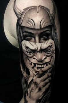 Samurai Tattoo Sleeve, Arm Sleeve Tattoos, Tattoo Sleeve Designs, Forearm Tattoo Men, Oni Tattoo, Dark Art Tattoo, Ski Mask Tattoo, Warrior Tattoos, Badass Tattoos