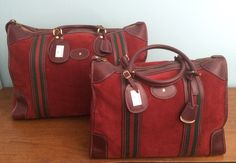 22e309ad7a4 RARE Vintage GUCCI Suede Large Duffle Tote Suitcase Carry On Signature  Stripe - GORGEOUS by Valleygirlvintage