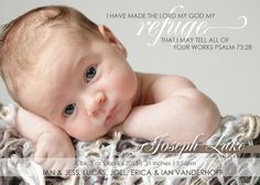 Christian Birth Announcements with Scripture as the focus by @Gena Ng Bisher By Meagan Designs