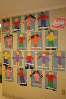 """Kinder/first grade """"self portraits"""" - pre-cut basic shapes for body, arms, legs, skirt, feet, head. Kids can draw on hair with markers, or glue on paper or yarn if they have better fine motor skills."""