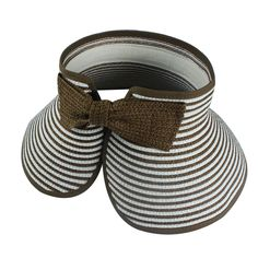311134eba01 Brown White FoldableRoll Up Braid Brim Sun Visor Hat with Bow Stripe. Visor  HatsBraidsCaps ...