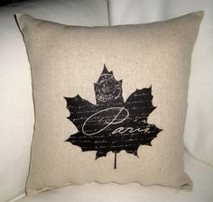Autumn Shabby Chic Leaf Pillow, Harvest Thanksgiving or Halloween Cushion, Paris Inspired Home Decor,Burlap, Cotton, Neutral. $14.79, via Etsy.