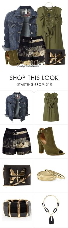 """""""Olive Green Laceup Top"""" by honkytonkdancer ❤ liked on Polyvore featuring Miss Selfridge, Ted Baker, Shoe Republic LA, Gucci, Palm Beach Jewelry, Alexis Bittar, summerfashion, greenandblack, shortsandheels and laceuptop"""
