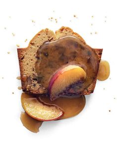 Brown Sugar-Walnut Pound Cake with Peach-Maple Sauce
