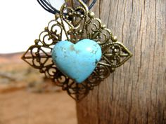 Large Filigree Base and Turquoise Heart by Treasure2Remember