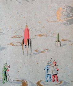 I'm not pregnant, nor am I even sure Brett and I will have kids. But when I saw this wallpaper I swooned. I adore it. It's vintage-themed, silvery and has beautiful spacey illustrations…