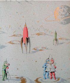 Retro Moonage Daydream wallpaper. HOL SH T. @Sarah Chintomby @Elizabeth Le Coney Robertson #retro #wallpaper #vintage