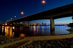 Take the sparkle of the city along with you on a run along the river! #VisitArkansas