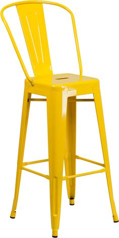 Bistro Style Barstool, Curved Back with Vertical Slat, Drain Hole in Seat, Yellow Powder Coat Finish, Cross Brace under seat provides extra stability, Footrest, Protective Rubber Floor Glides, Lightweight Design, Designed for Indoor and Outdoor Use, Designed for Commercial and Residential Use