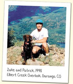 The two founders of the Zuke's company: Zuke and his human, Patrick. This dynamic duo started it all!  {Hey, I know these guys!}