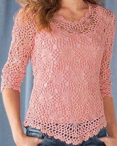 Letras e Artes da Lalá: Blusas de crochê (fotos: pinterest - sem receitas)                                                                                                                                                      Mais