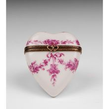 Vintage Limoges Hand Painted Heart Shaped Porcelain Box