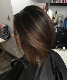 28 Incredible Examples Of Caramel Balayage On Short Dark Brown Hair - Hair Styles - Hair Style Ideas Highlights For Dark Brown Hair, Brown Hair Colors, Short Dark Brown Hair With Caramel Highlights, Dark Brown Short Hair, Color Highlights, Dark Brown Balayage Medium, Brown Hair With Caramel Highlights Medium, Brown Highlighted Hair, Dark Brown Hair With Highlights And Lowlights