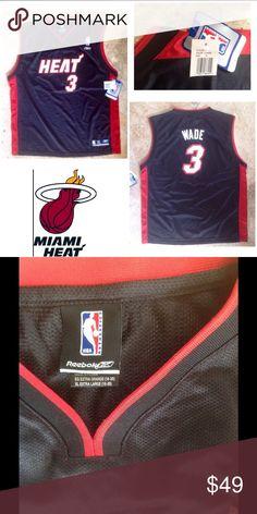 Dwyane Wade #3 Miami Heat NBA Reebok Jersey NWT Size 18-20 Boys or a Men's Small.                black with red piping sleeveless mesh tank shirt. Reebok Shirts & Tops Tank Tops