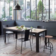 European retro residential furniture, wrought iron wood tables and chairs desk combination desk long table cafe bar