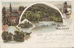 Gruss vom Waldsee 1900 - Tolle Postkarte aus dem Jahr 1900. Ein Gruß vom Waldsee an die Daheimgebliebenen. Danke an die Sammlung Oehler.   /*  */