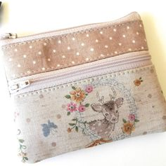 Sweet deer and dotty handmade double zipper pouch purse for coins and cards. on Etsy, $14.90