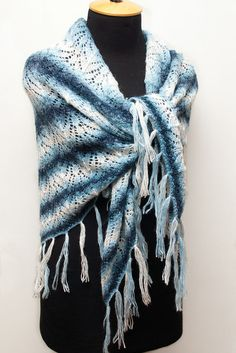 Knitted blue wool shawl with tassels, knitted woman lace wrap, winter warm shawl, knitted accessory, woman scarf by SanniKnitting on Etsy