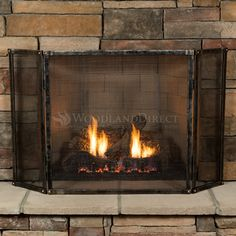 With its simple flat top, the Wayland Hand-Forged 3 Panel Fireplace Screen - 51 Cabin Fireplace, Fireplace Tool Set, Small Fireplace, Rustic Fireplaces, Farmhouse Fireplace, Custom Fireplace Screens, Fireplace Screens With Doors, Custom Screens, Fireplace Doors