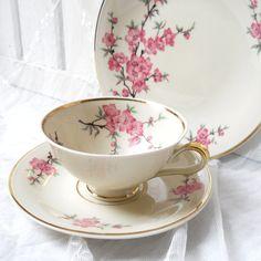 German porcelain teacup trio - pink blossom vintage teacups.  by 'Mitterteich bavaria'.