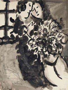 Gli innamorati alla finestra con un mazzo di fiori di Marc Chagall