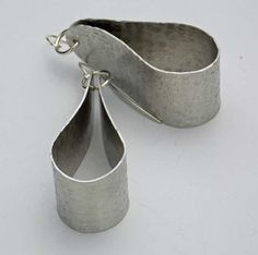 HILDY  Hanforged Hammered Long Oval Pewter by sandrawebsterjewelry, $38.00