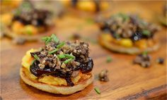 HAGGIS, NEEPS AND WEE TATTIE SCONE CANAPES WITH RED-ONION MARMALADE | Broughton Spurtle