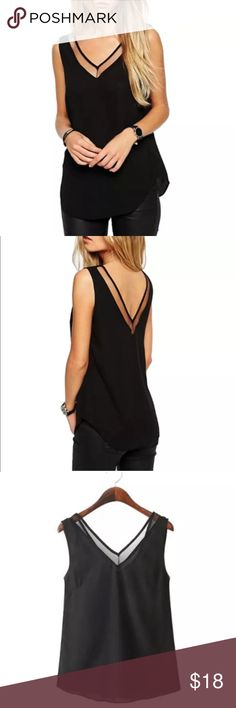 CUTE BLACK CHIFFON TANK! Very popular tank design, for casual or dressy! :) tag may be a size up, because they run a tad small:) Tops Tank Tops