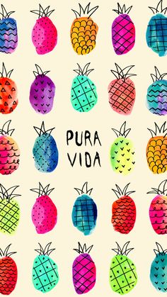 Pura Vida Pineapples ★ Find more Fruity #iPhone + #Android Wallpapers / Backgrounds at @prettywallpaper
