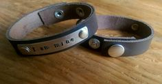 Customized leather cuff bracelet with rivetted tag by PearlyCrowns