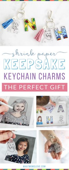 This easy to make Mother's Day or Father's Day craft for kids is the perfect homemade keepsake to give to mom, dad, grandma or grandpa. Use Shrinky Dinks to create a DIY initial and headshot keychain - they're simple to make but totally unique. Anyone can make them, from toddlers to teens. Makes a great last minute gift from the kids or grandkids for Mother's Day, Father's Day, Grandparents Day, birthdays or Christmas! via @whatmomslove