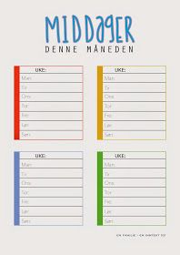 : Gratis ressurser til hjemmet Task To Do, Meal Planner, Life Inspiration, Getting Organized, Kids And Parenting, Good To Know, Free Printables, Diy And Crafts, Life Hacks