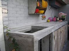Buitenkeuken in beton