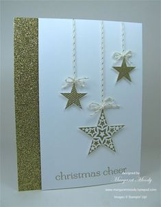 Christmas cheer with 3 stars, gold and white. Christmas Card Crafts, Homemade Christmas Cards, Printable Christmas Cards, Christmas Cards To Make, Christmas Greeting Cards, Homemade Cards, Handmade Christmas, Holiday Cards, Xmas Cards Handmade